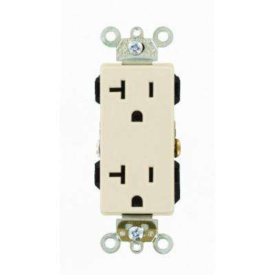 Decora Plus 20 Amp Industrial Grade Self Grounding Duplex Outlet, Light Almond