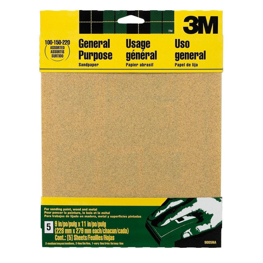 3M 9 in. x 11 in. 100, 150, 220 Grit Medium, Fine and Very Fine Aluminum Oxide Sand Paper (5 Sheets-Pack)