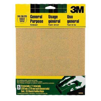 9 in. x 11 in. 100, 150, 220 Grit Medium, Fine and Very Fine Aluminum Oxide Sand Paper (5 Sheets-Pack)