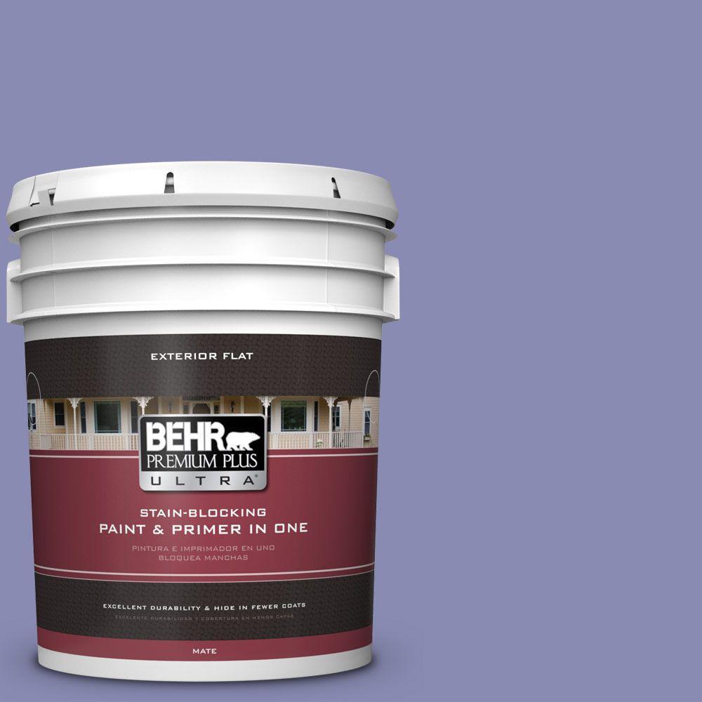 BEHR Premium Plus Ultra 5-gal. #M550-5 Violet Aura Flat Exterior Paint, Purples/Lavenders