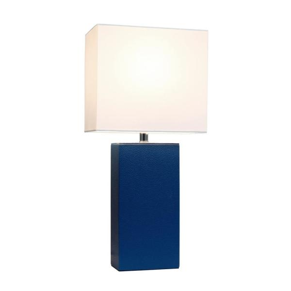 Modern Blue Leather Table Lamp