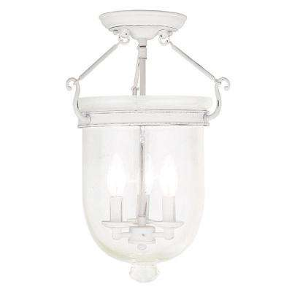 Jefferson 3-Light Antique White Flushmount
