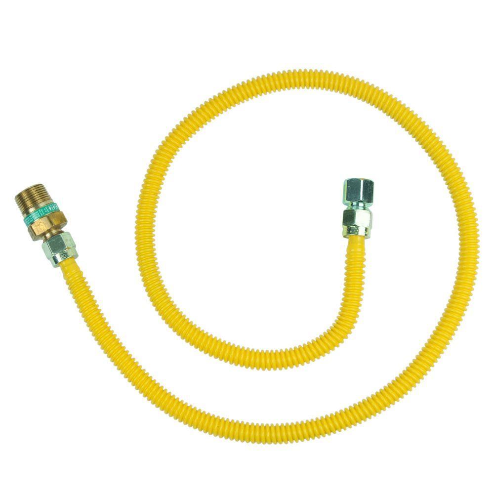BrassCraft Safety+PLUS 1/2 in. Female Flare Excess Flow Valve x 1/2 in. FIP x 48 in. Gas Connector 1/2 in. O.D. (60,500 BTU)