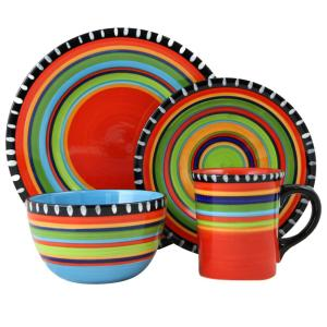GIBSON ELITE Pueblo Springs 16-Piece Dinnerware Set-98586827M - The Home Depot  sc 1 st  The Home Depot : green dinnerware set - pezcame.com
