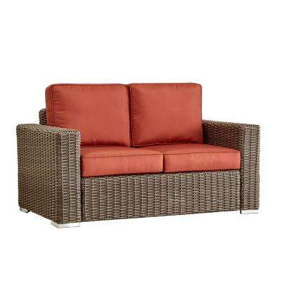 Camari Mocha Square Arm Wicker Outdoor Loveseat with Red Cushion