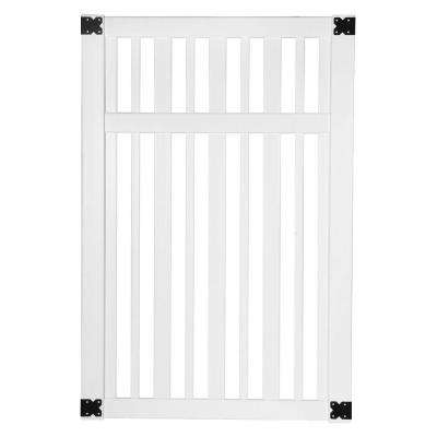 Pro Series 4 ft. W x 6 ft. H White Vinyl Lafayette Spaced Picket Fence Gate
