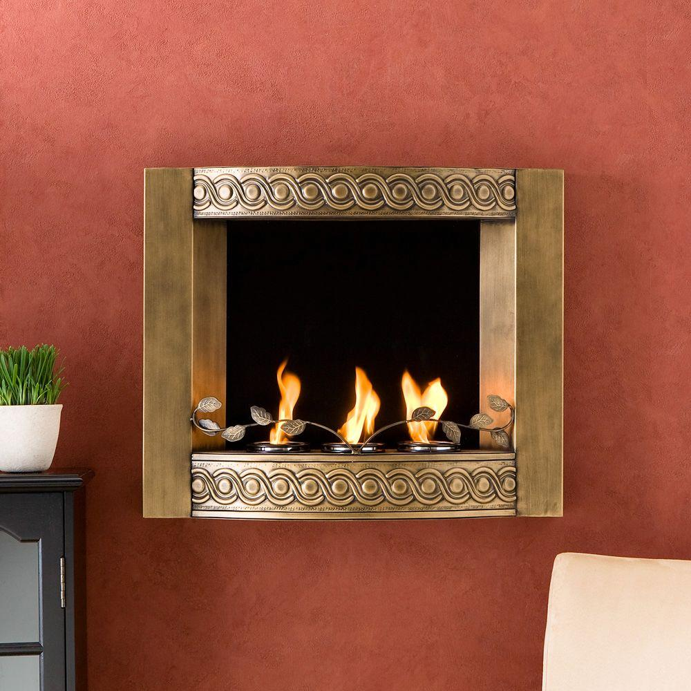 Southern Enterprises 27 in. Wall Mount Gel Fuel Fireplace in Brushed Antique Gold-DISCONTINUED