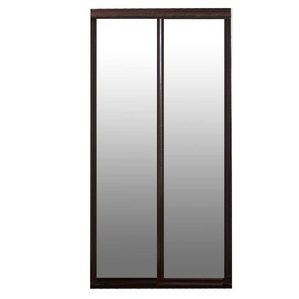 Contractors Wardrobe Majestic 72 In X 81 In Dark Cherry Frame Mirror Hardwood Interior Sliding