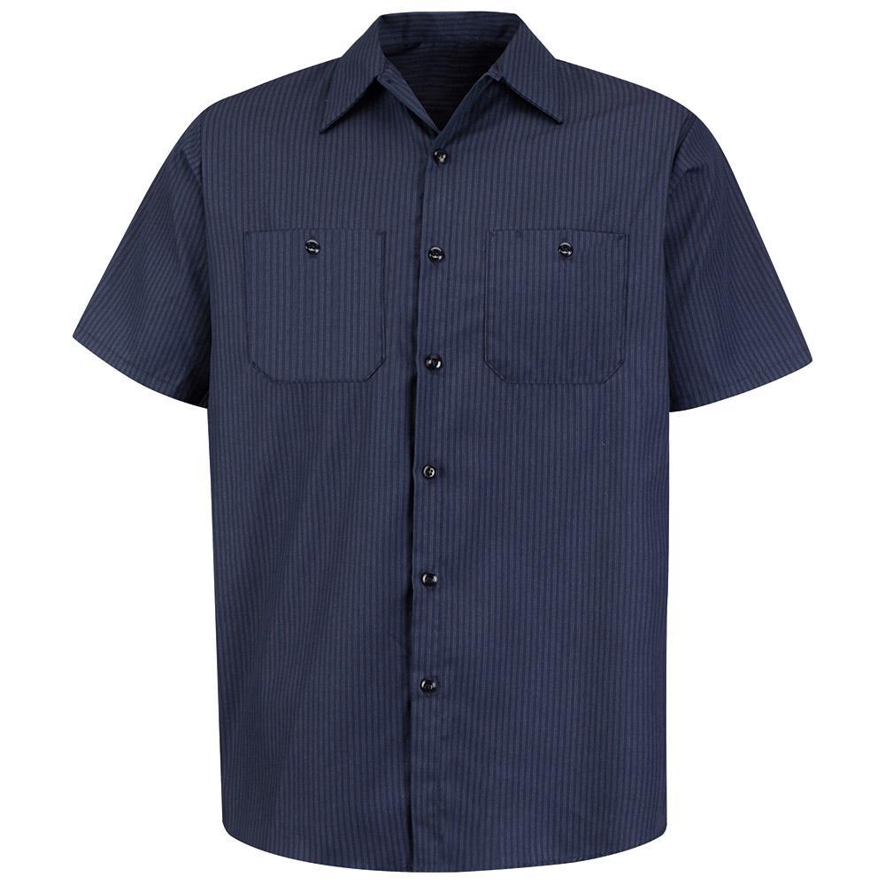 Men's Size L Navy/Light Blue Twin Stripe Work Shirt