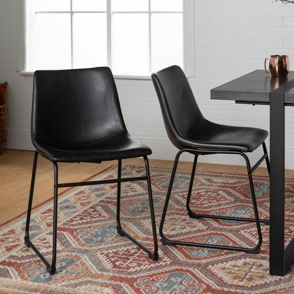 Shop Tribecca Home Decor Faux Alligator Print Dining Chair: Walker Edison Furniture Company Wasatch Black Faux Leather