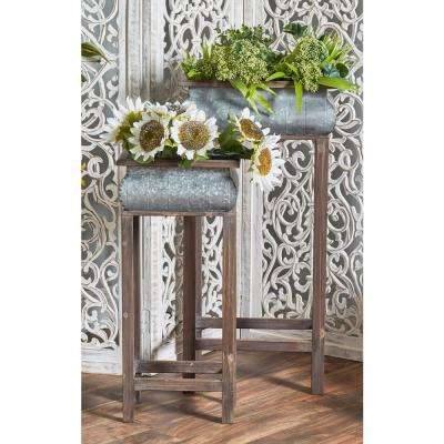 Gray Iron Square Curved Planters with Brown Wood Stands (Set of 2)