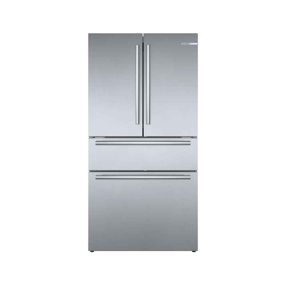 Bosch 800 Series 36 in. 21 cu. ft. French 4 Door Refrigerator in Stainless Steel with Dual Compressor, Counter-Depth