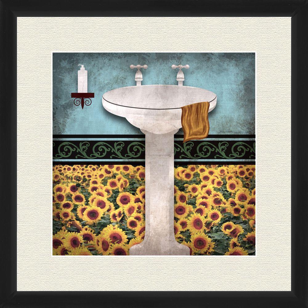 "18 in. x 18 in. ""Sunflower Bath I A"" Framed Wall"