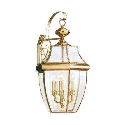 Lancaster 3-Light Polished Brass Outdoor Wall Mount Lantern