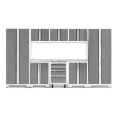 Bold Series 132 in. W x 76.58 in. H x 18 in. D 24-Gauge Steel Garage Cabinet Set in Platinum (9-Piece)