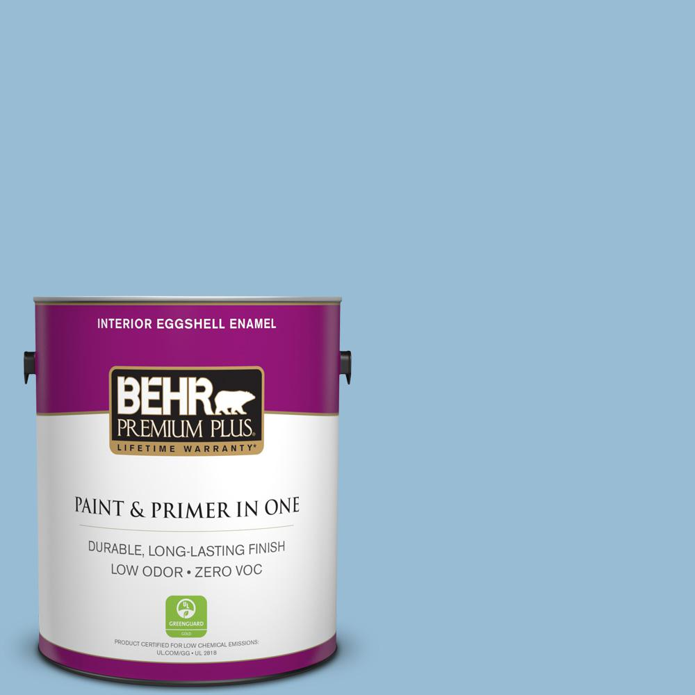 1 gal. #PPU14-11 Gentle Sky Zero VOC Eggshell Enamel Interior Paint
