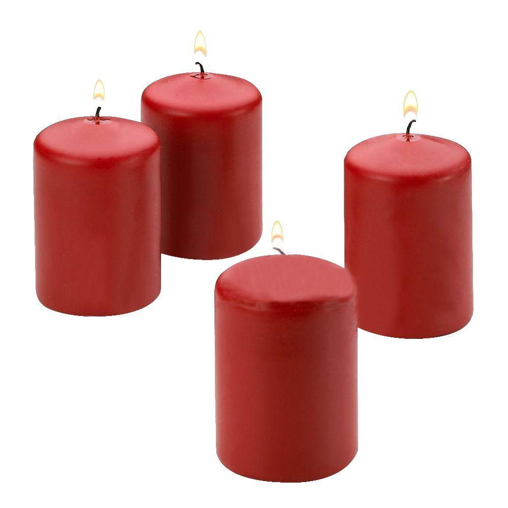 2 in. x 3 in. Unscented Red Pillar Candle (4-Count)