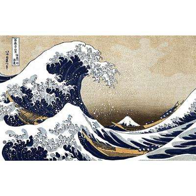 Great Wave At Kanagawa Multi Colored Wall Tapestry