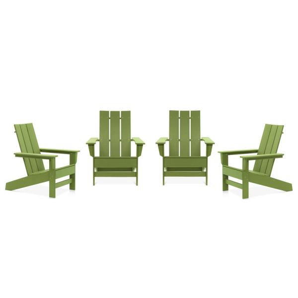 Aria Lime Recycled Plastic Modern Adirondack Chair (4-Pack)