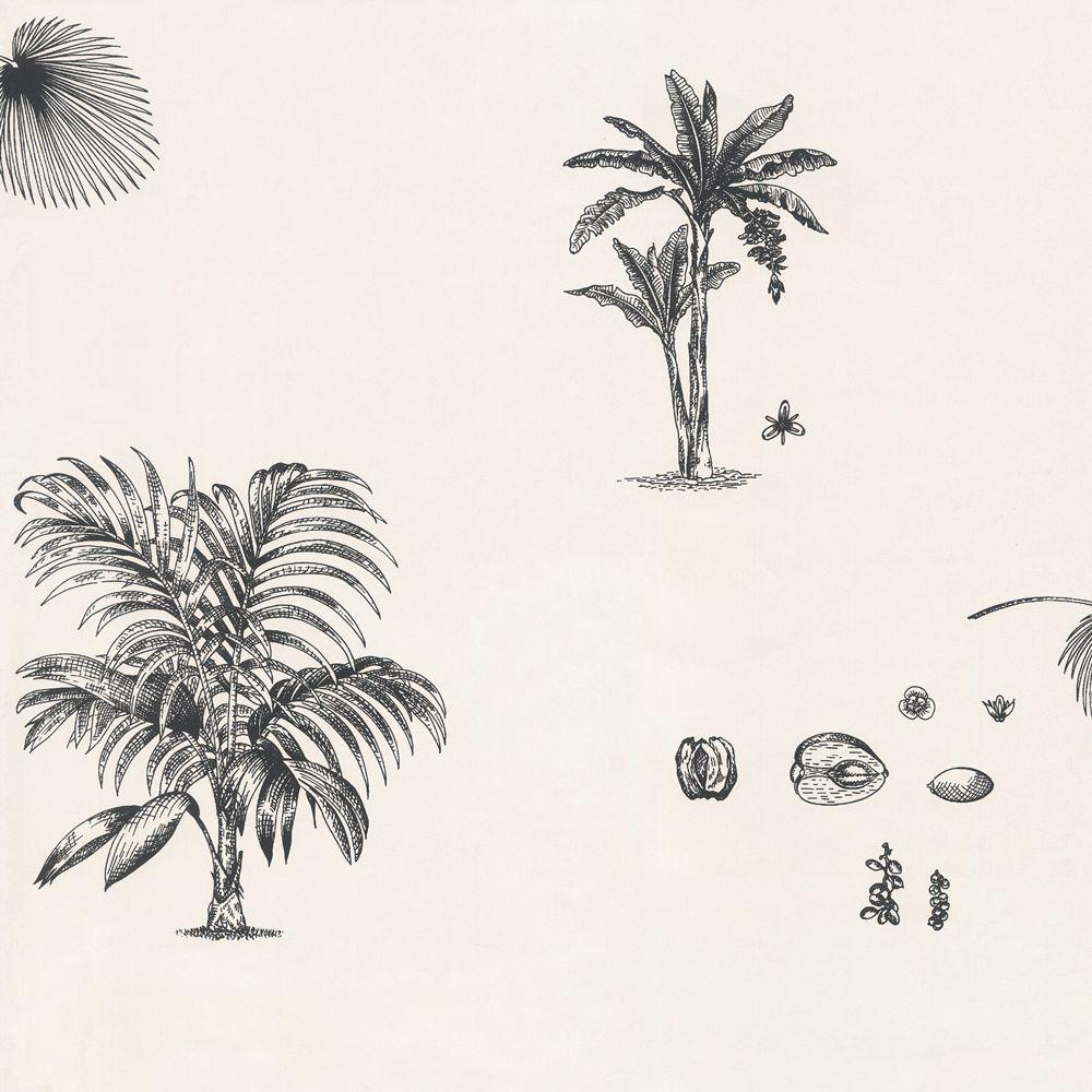 The Wallpaper Company 56 sq. ft. Black And White Palm Tree Wallpaper