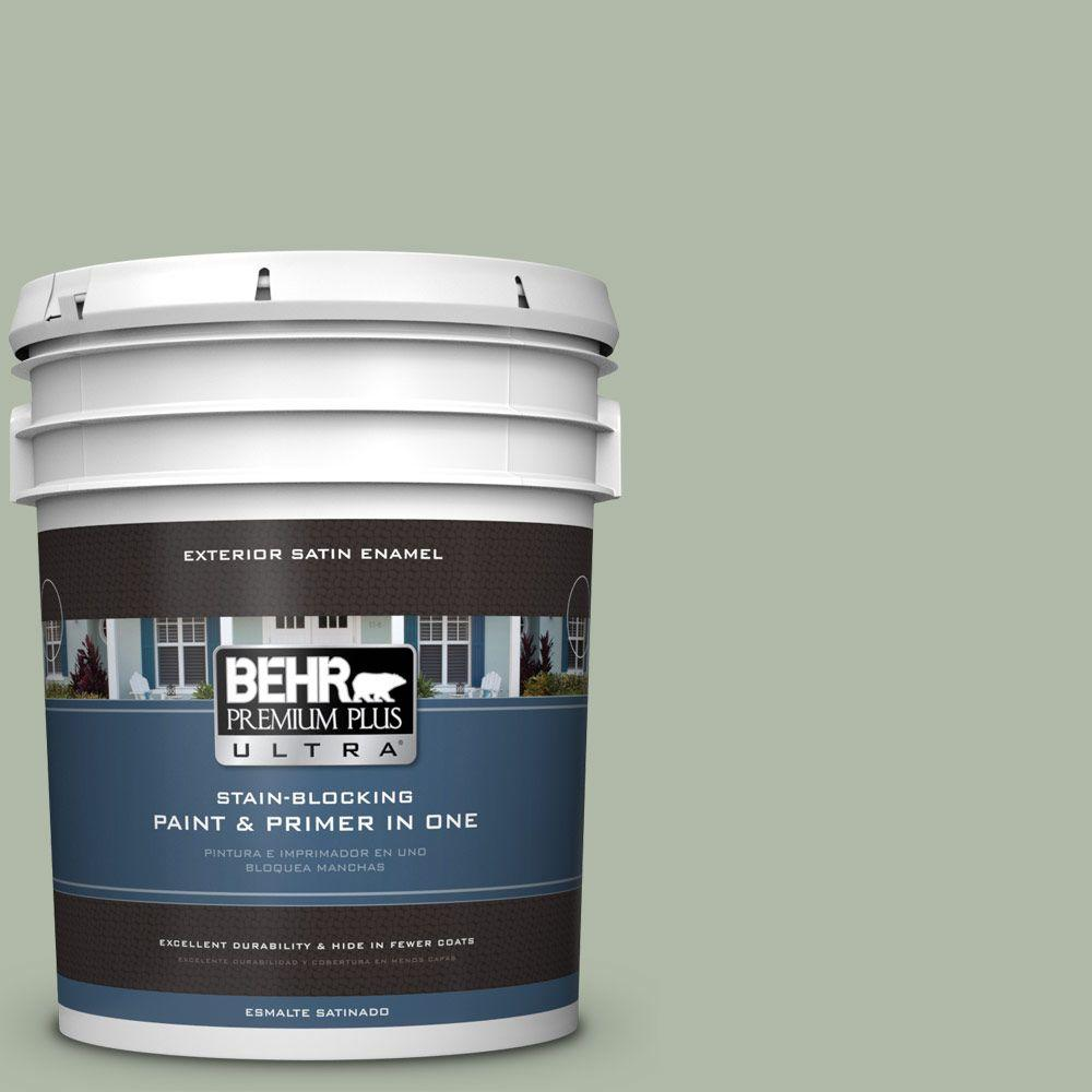 5 gal. #N390-3 Jojoba Satin Enamel Exterior Paint and Primer in