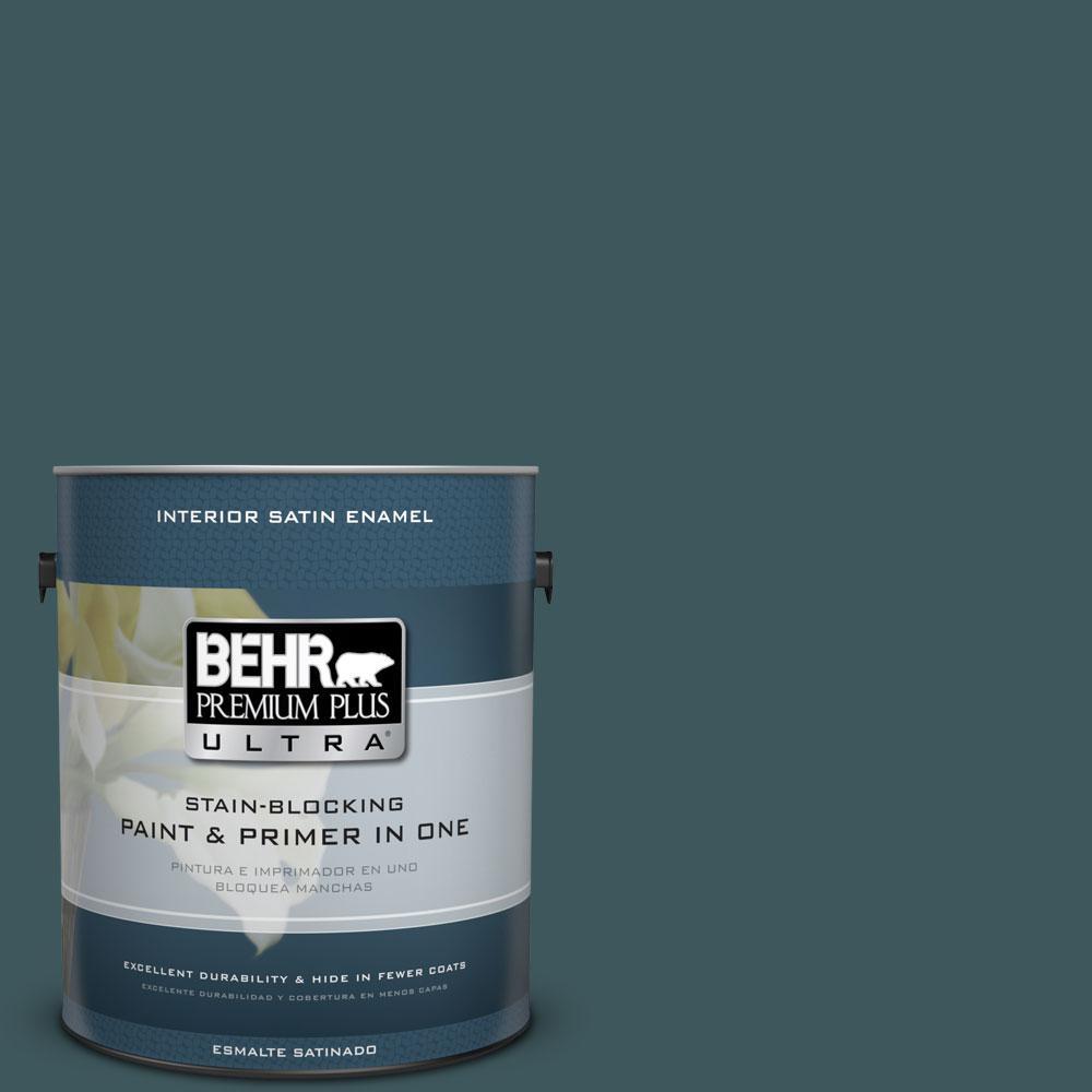 BEHR Premium Plus Ultra 1-gal. #510F-7 Teal Forest Satin Enamel Interior Paint