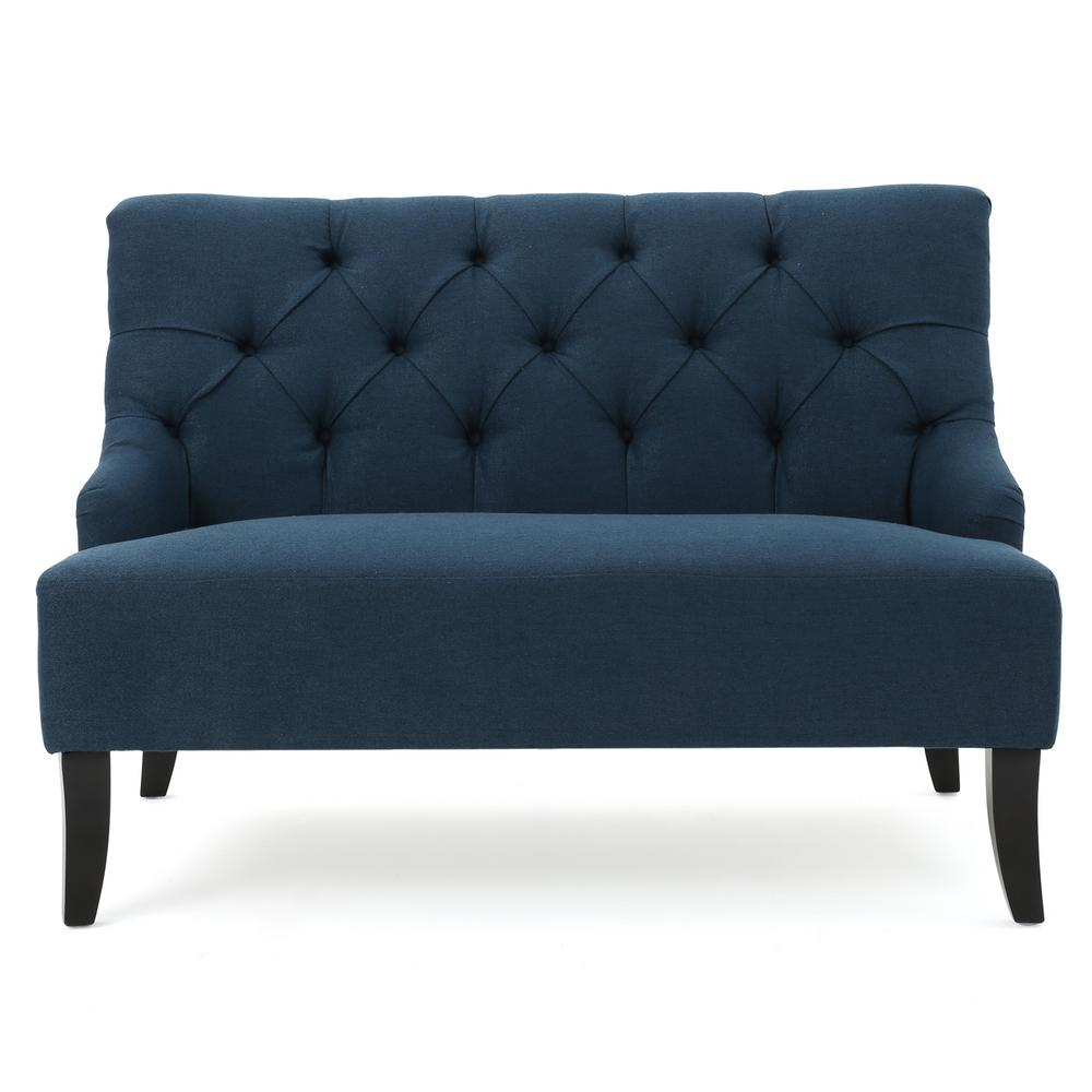Noble House 2-Seat Dark Blue Tufted Fabric Loveseat was $352.41 now $206.66 (41.0% off)
