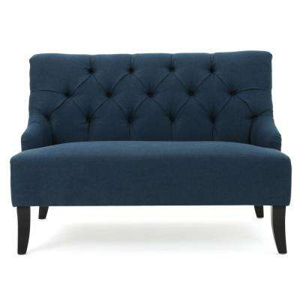 2-Seat Dark Blue Tufted Fabric Loveseat