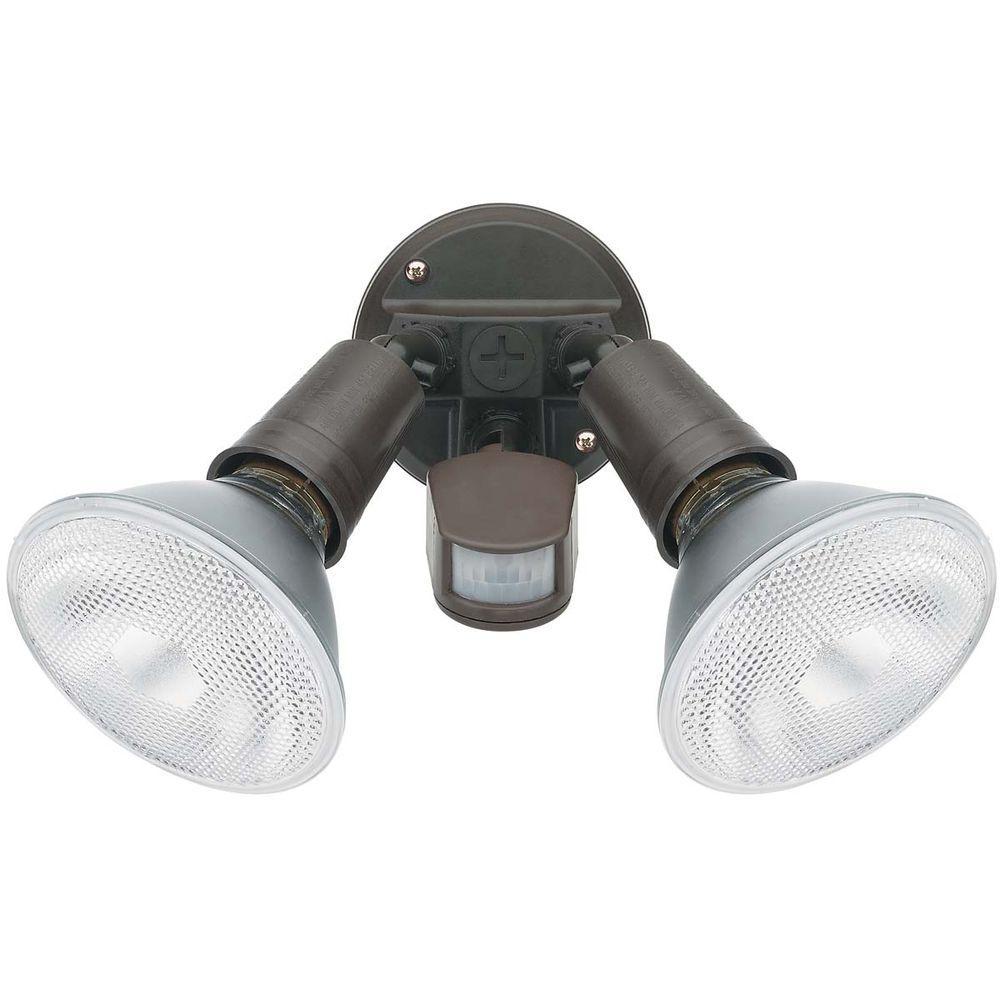 Globe Electric 100 Degree 300-Watt Outdoor Brown Motion Sensor Security Wall Light