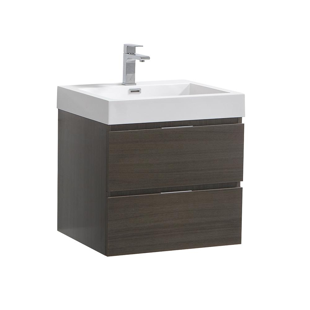 Fresca Valencia 24 in. W Wall Hung Bathroom Vanity in Gray Oak with Acrylic Vanity Top in White