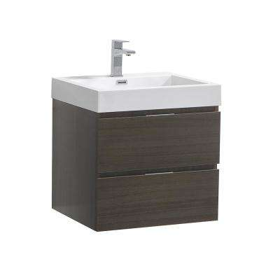 Valencia 24 in. W Wall Hung Bathroom Vanity in Gray Oak with Acrylic Vanity Top in White