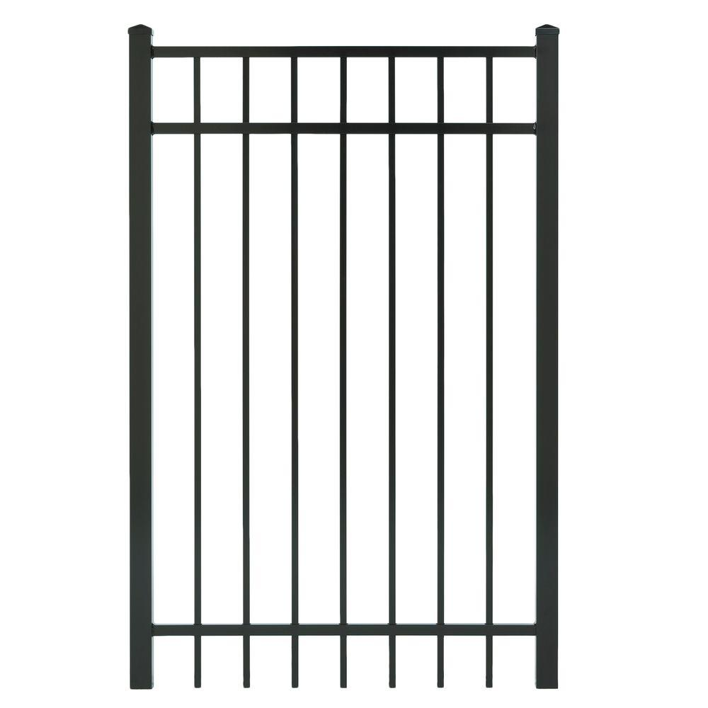 Cercadia 3 ft. W x 5 ft. H Black Aluminum 3-Rail Flat Top Gate-DISCONTINUED