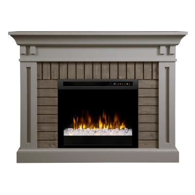 Madison 58 in. Mantel in Stone Grey with a 28 in. Electric Fireplace with Glass Ember Bed
