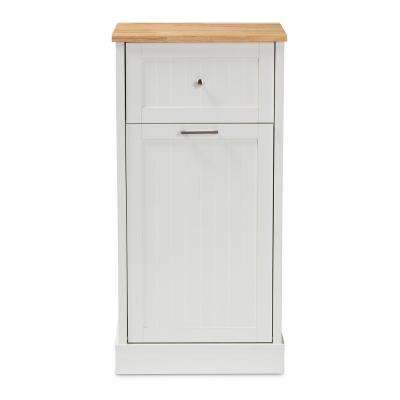 Marcel White and Oak Brown Kitchen Cabinet