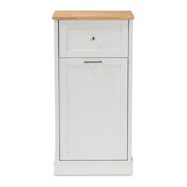 Baxton Studio Marcel White and Oak Brown Kitchen Cabinet 147-8320-HD