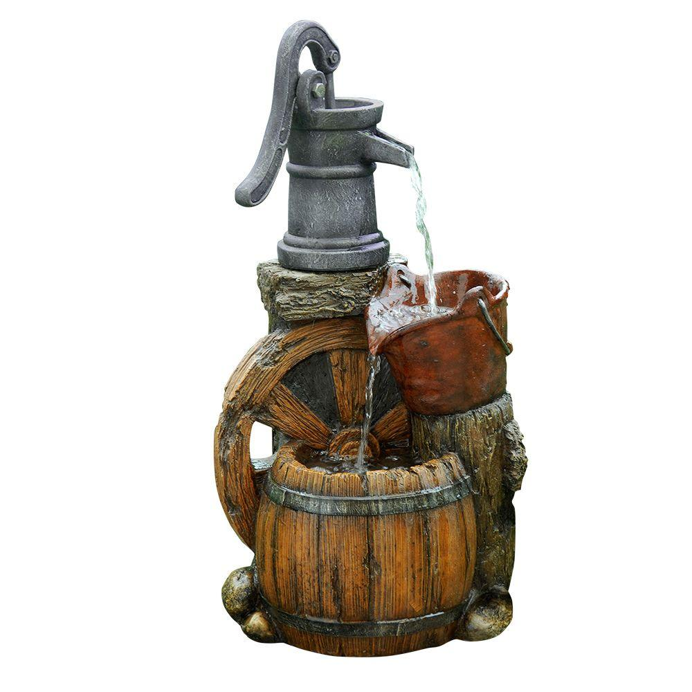 Alpine 24 in. Old Fashion Pump Barrel Fountain-WCT688 - The Home Depot
