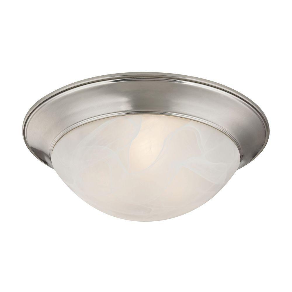 2-Light Brushed Nickel Flushmount