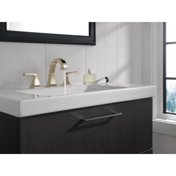 Delta Dryden 8 In Widespread 2 Handle Bathroom Faucet With Metal Drain Assembly In Polished Nickel 3551 Pnmpu Dst The Home Depot