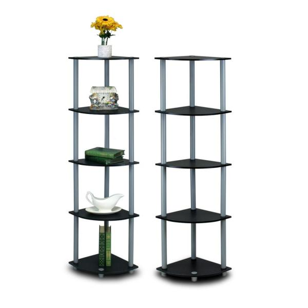 Furinno Turn-N-Tube Black 5-Shelf Corner Open Shelf (2-Pack) 2-99811BK