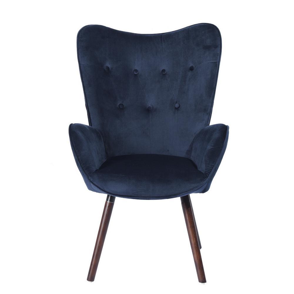 Kas Blue Velvet Tufted Arm Chair