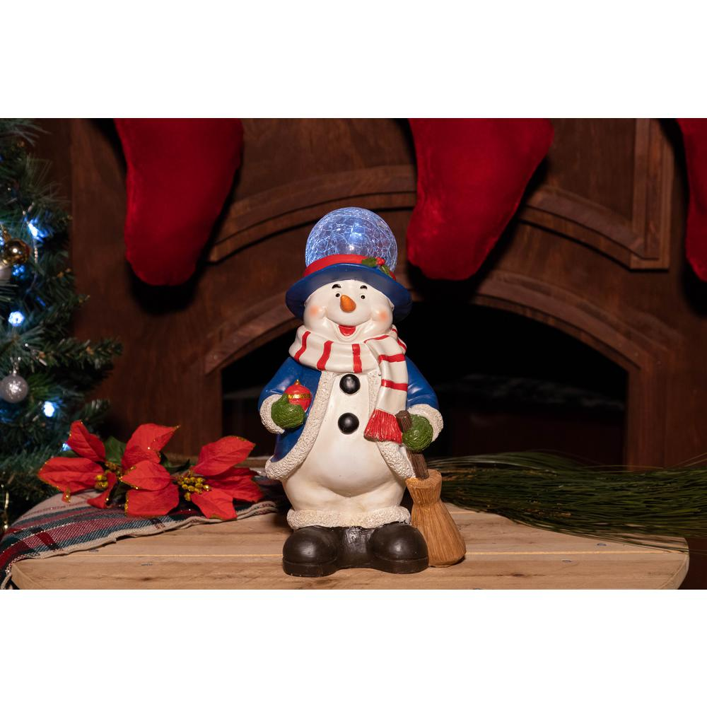 Christmas Statue Decorations: Alpine Christmas Snowman Statue With Led Lights