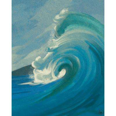 16 in. x 20 in. Crashing Turquoise Wave Wrapped Canvas Wall Art Print