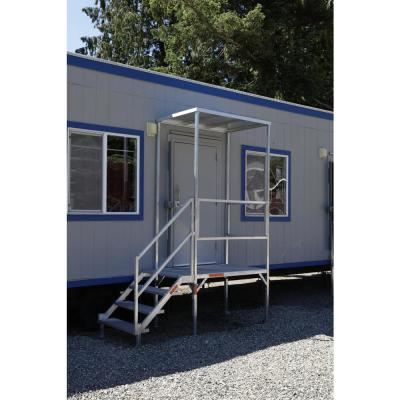 FORTRESS 23 in. to 34 in. H OSHA Compliant Aluminum 3-Riser Stair System with Platform and Canopy