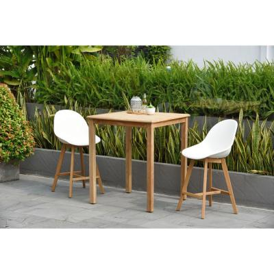 Carilo 3-Piece Teak Square Patio Bar Set