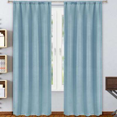Solid Aquamarine Polyester Blackout Rod Pocket Window Curtain 38 in. W x 84 in. L (2-Pack)