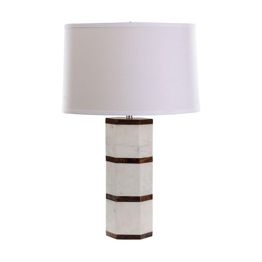 Titan Lighting 25 In White Marble And Wood Hexagon Table Lamp Tn