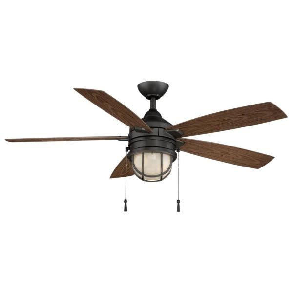 Hampton Bay Seaport 52 In Led Indoor Outdoor Natural Iron Ceiling Fan With Light Kit Al634 Ni The Home Depot
