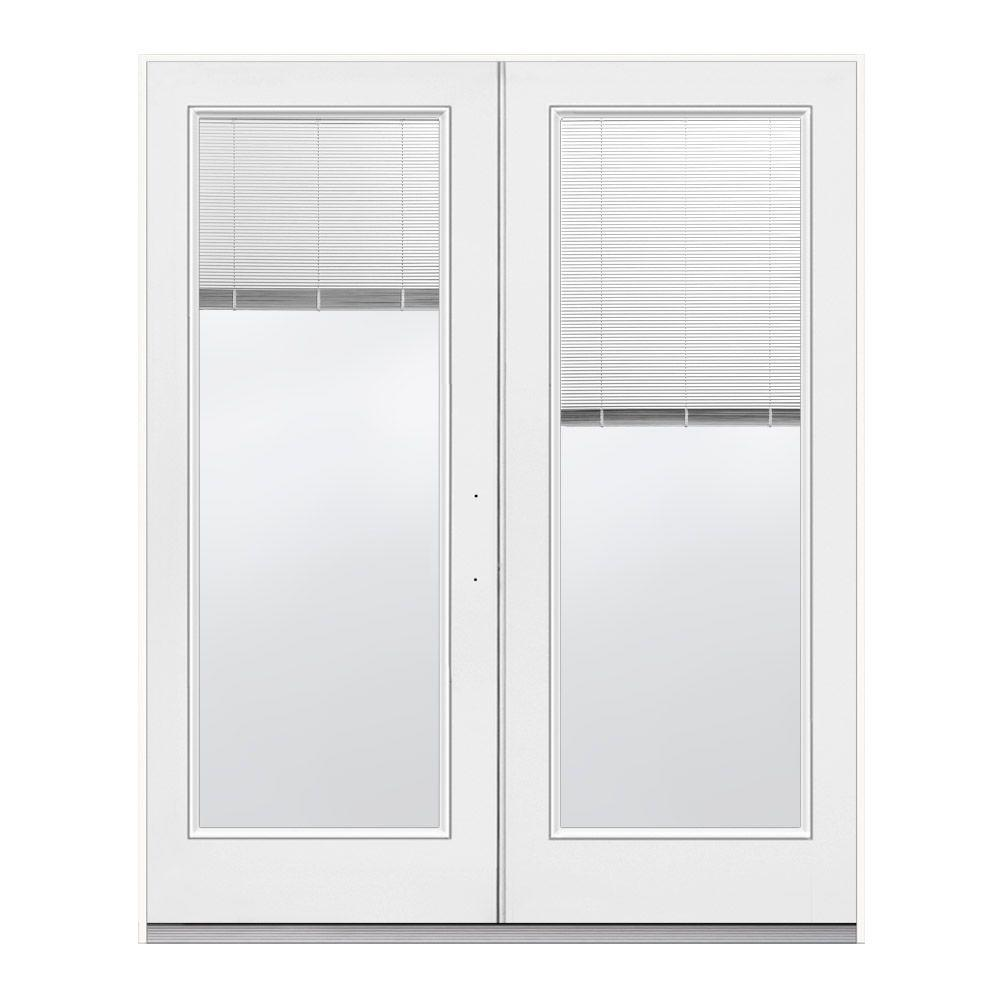 White Left Hand Inswing French Patio Door With Tilt And Raise Blinds H37797 The Home Depot