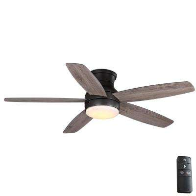 Ashby Park 52 in. White Color Changing Integrated LED Bronze Ceiling Fan with Light Kit and Remote Control