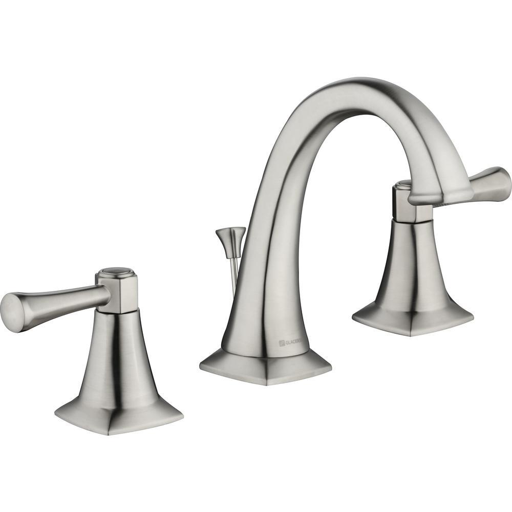 Glacier Bay Stillmore 8 in. Widespread 2-Handle High-Arc Bathroom Faucet in Brushed Nickel